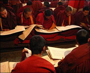 monjes leyendo tibet