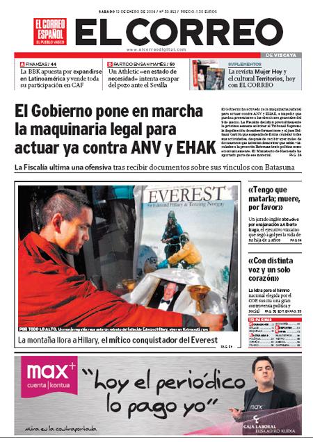 portada elcorreo 12-01-2008, cuenta max caja laboral