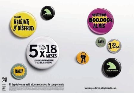 Caja Madrid Depósito Relájate y Disfruta Gráfica, anuncio en prensa